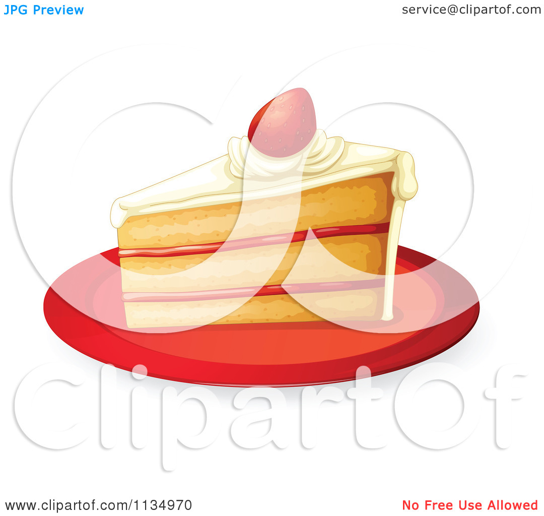 Cartoon Of A Slice Of Cake With A Strawberry And Filling On A.