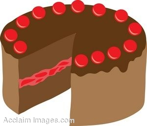 Clipart of a Double Layer Chocolate Cake With Cherry Filling.