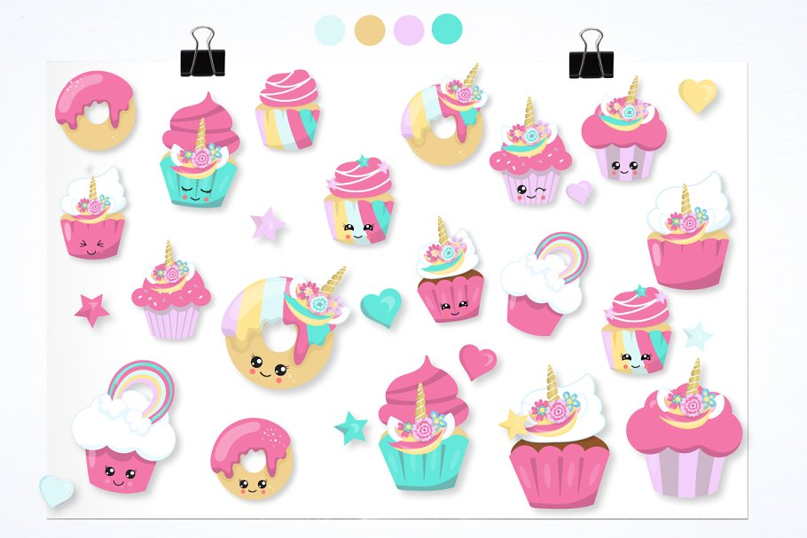 Unicorn cup cakes graphics ~ Illustrations ~ Creative Market.