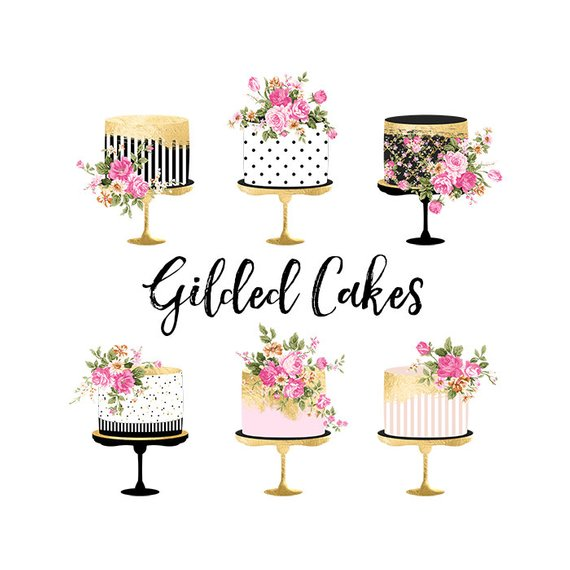 Cake Clipart Gold Foil Cake Clipart Shabby Chic Clipart.