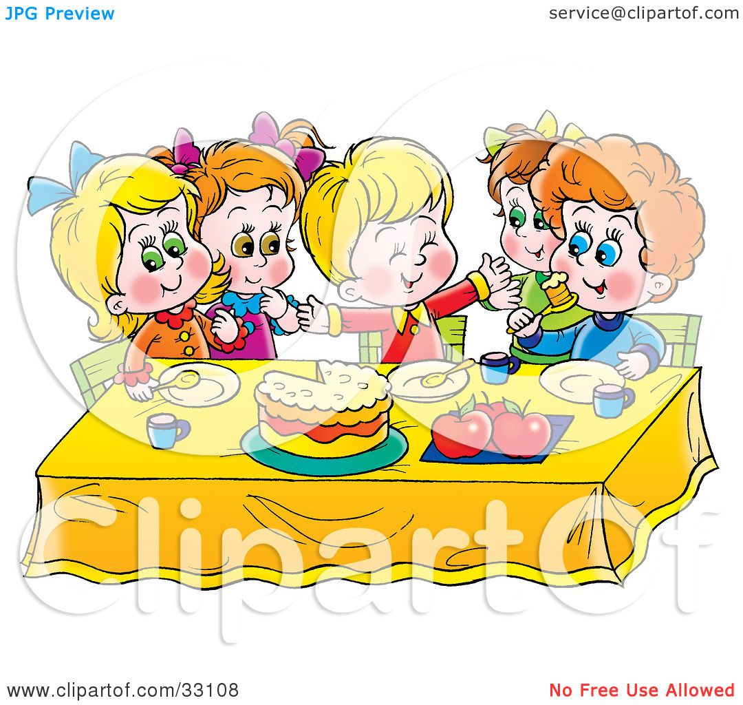 Clipart Illustration of a Group Of Children Eating Cake At A Table.