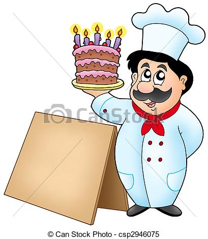 Stock Illustrations of Chef holding cake with wooden table.