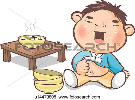 Stock Illustration of rice cake soup, bowl, table, food, new year.