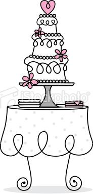Retro Wedding Cake Table Royalty Free Stock Vector Art.