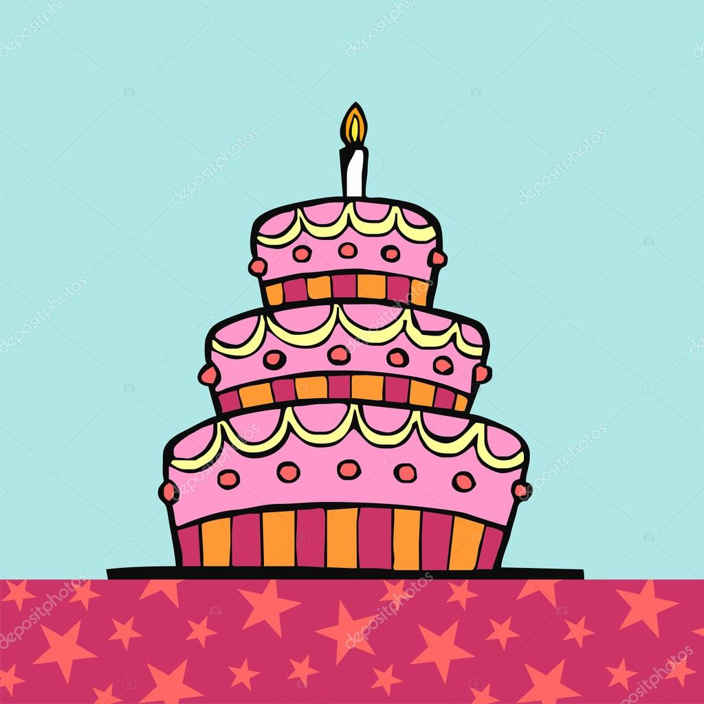 Birthday cake on the table — Stock Vector © cienpies #2144729.