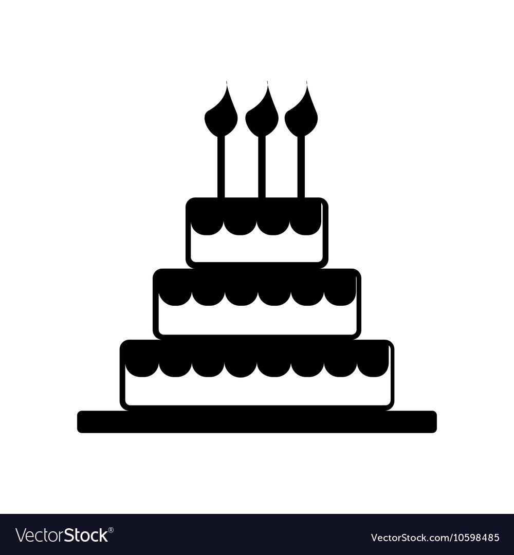 Cake Celebrate Icon Silhouette.
