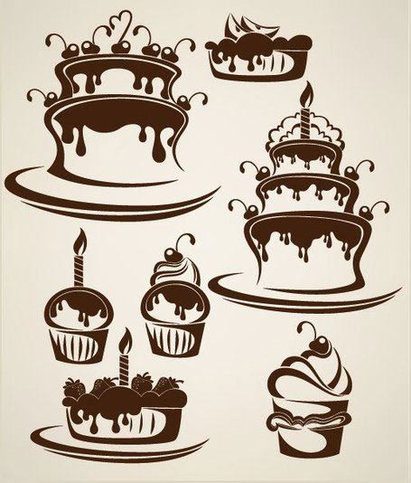 Free Cartoon cake illustration silhouette Clipart and Vector.