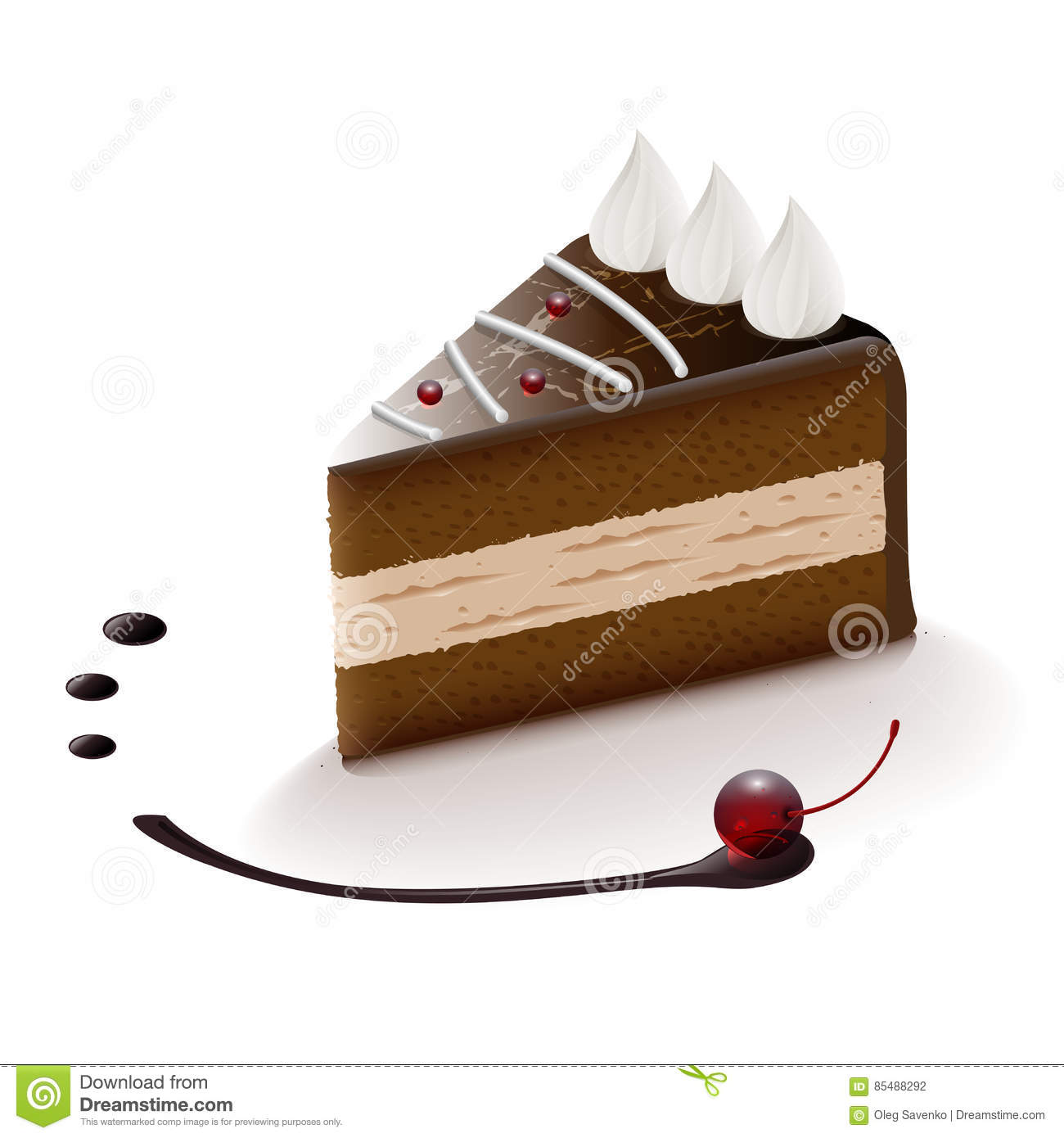 Chocolate Cake Slice. Vector Clip Art Illustration Stock Vector.