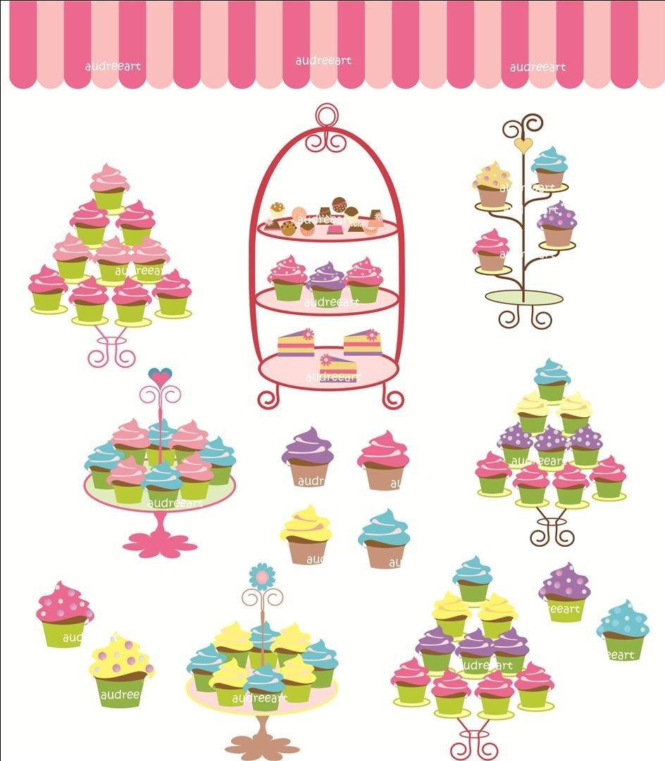 Digital clip art for all use cupcake tree by Audreeartclipart.