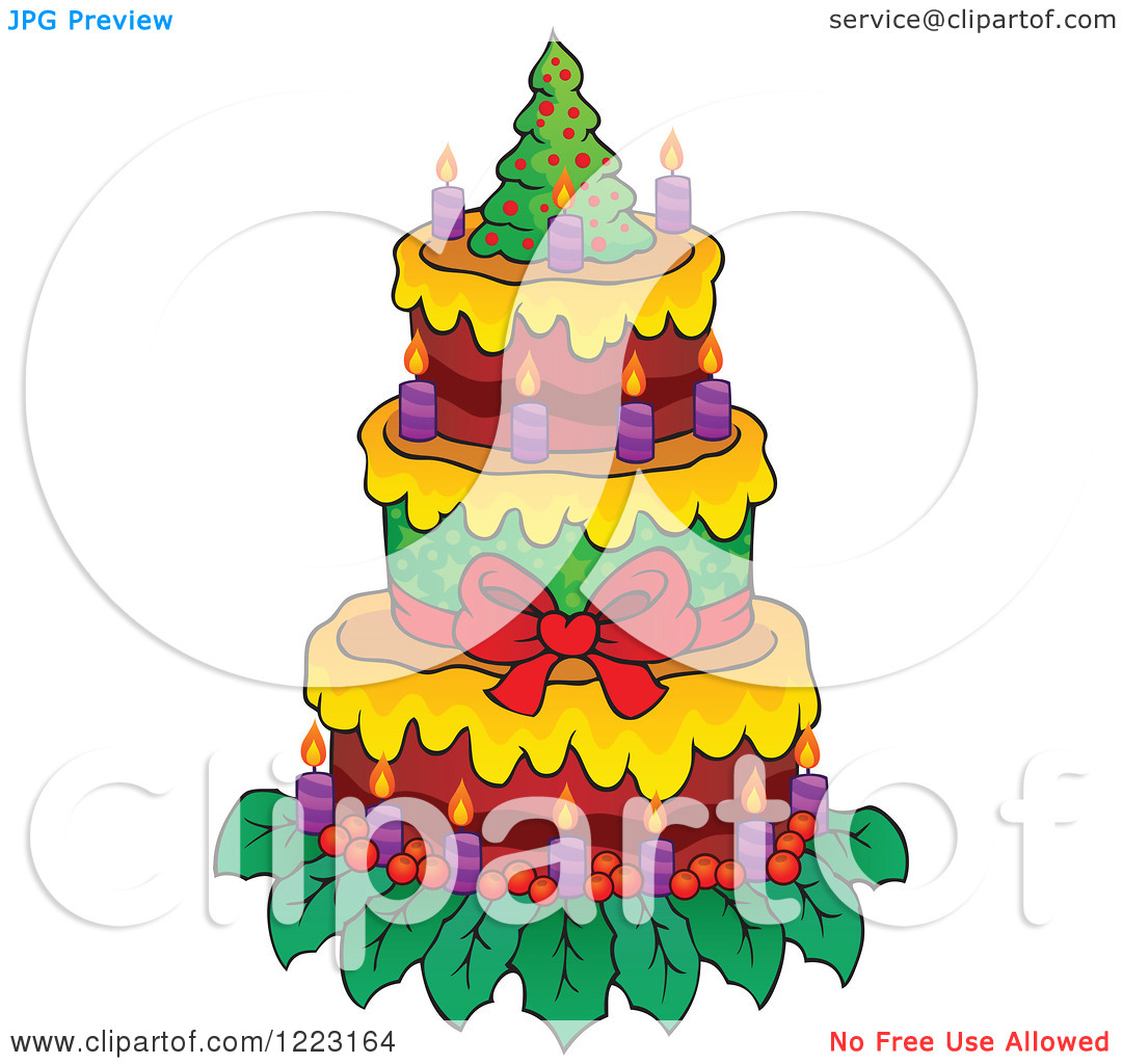 Clipart of a Christmas Tree Cake with Candles.