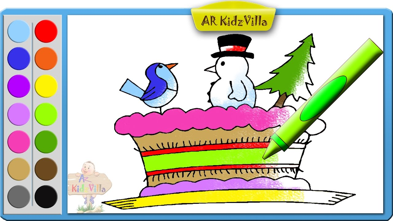Learn Colors for Kids and Color Christmas Cake, Tree, Snowman.