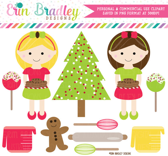 Holiday Clipart, Christmas Cookie Exchange Clipart Graphics, Girls.