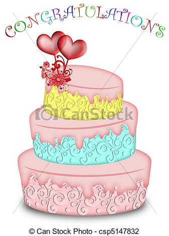 Clip Art of Wedding Cake Tree Tiered with Hearts and Flowers.