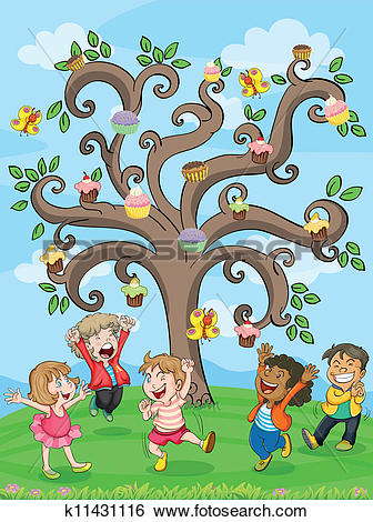 Clip Art of kids playing under cake tree k11431116.