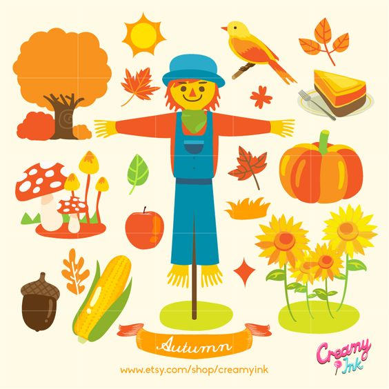 Autumn digital clip art featuring scarecrow, pumpkin, corn.