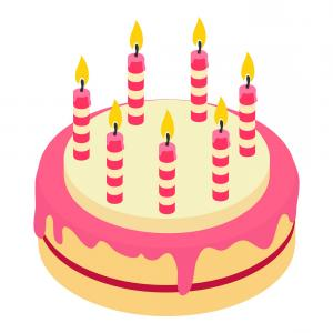 Birthday Cake With Candle Vector Clipart.