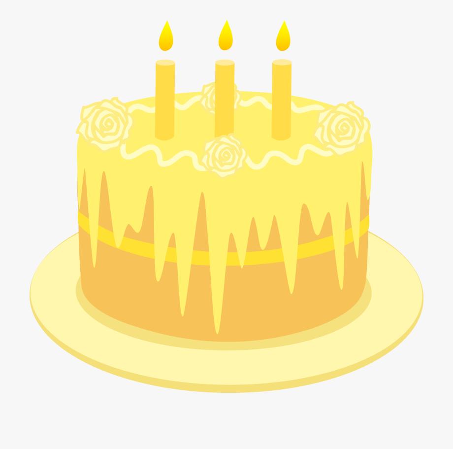 Lemon Birthday Cake With Candles.