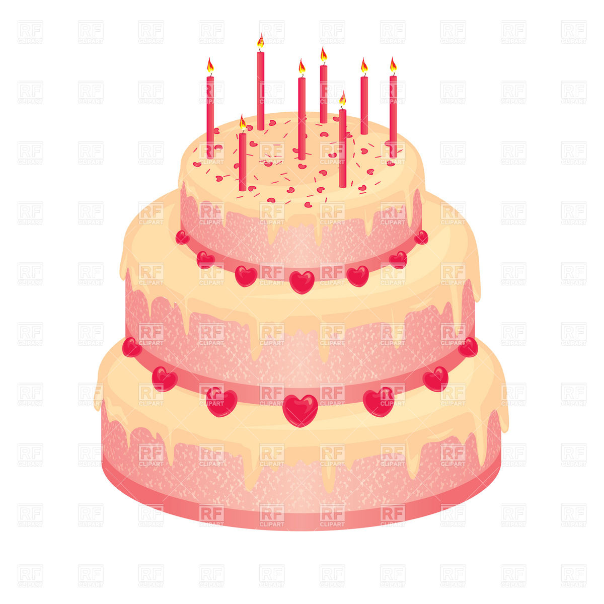 Sweet pink wedding cake with candles Stock Vector Image.
