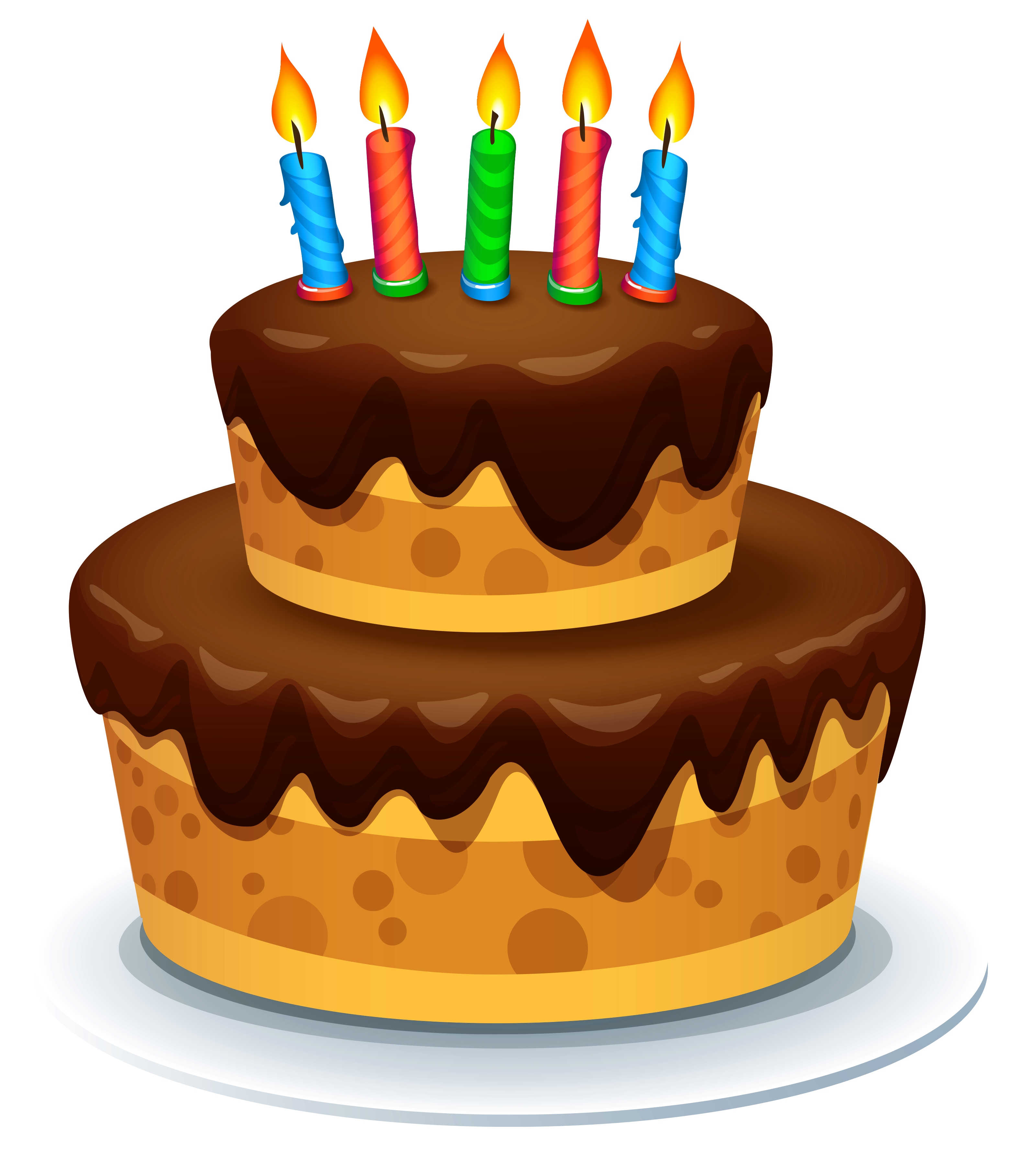 Cake with Candles PNG Clipart Image.