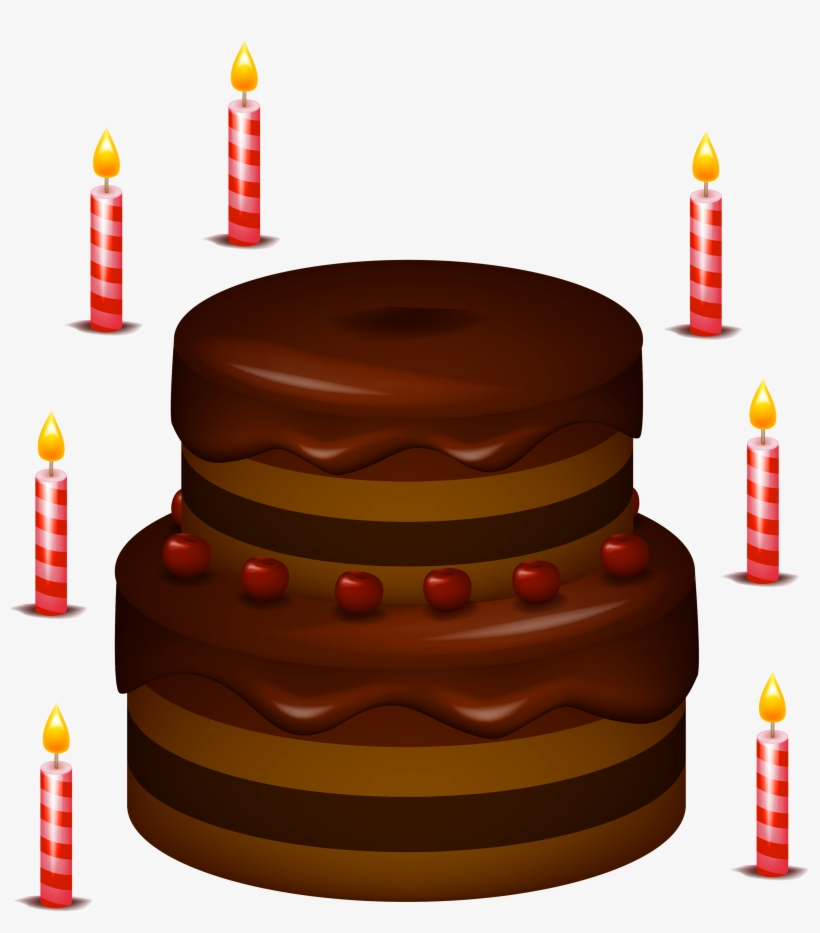 Chocolate Cake With Candles Png Clipart.