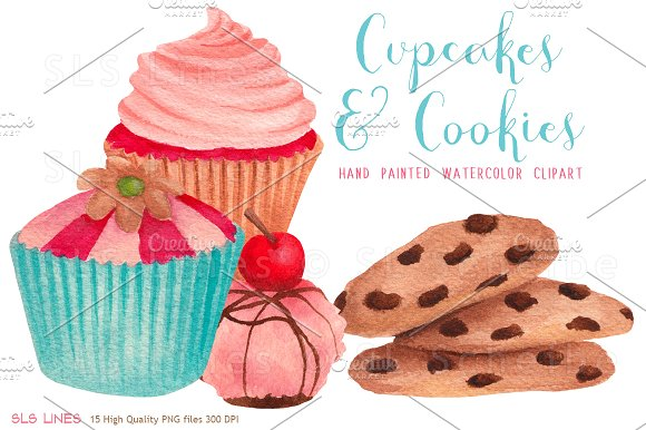 Cupcakes & Cookies Clipart.