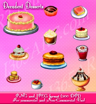 Yummy Treats and Desserts Clipart Set Cakes, Cookies & Ice Cream Digital.