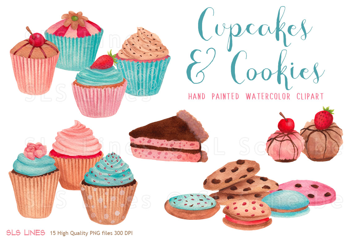 Cupcakes and Cookies Watercolors PNG.
