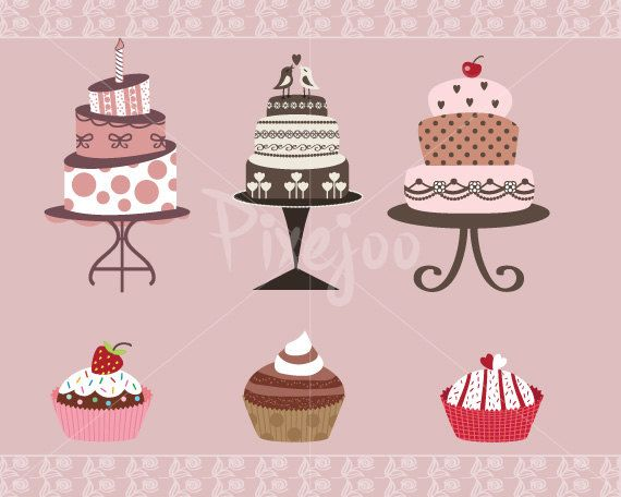 Cute Printable Cakes and Cupcakes Clipart.