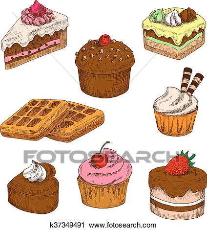 Colored sketches of cakes, cupcakes and waffles Clipart.