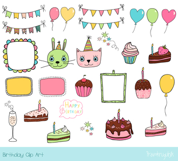 Cute birthday party clipart, Birthday bunting, cake, cupcake, balloon, pink  cat.