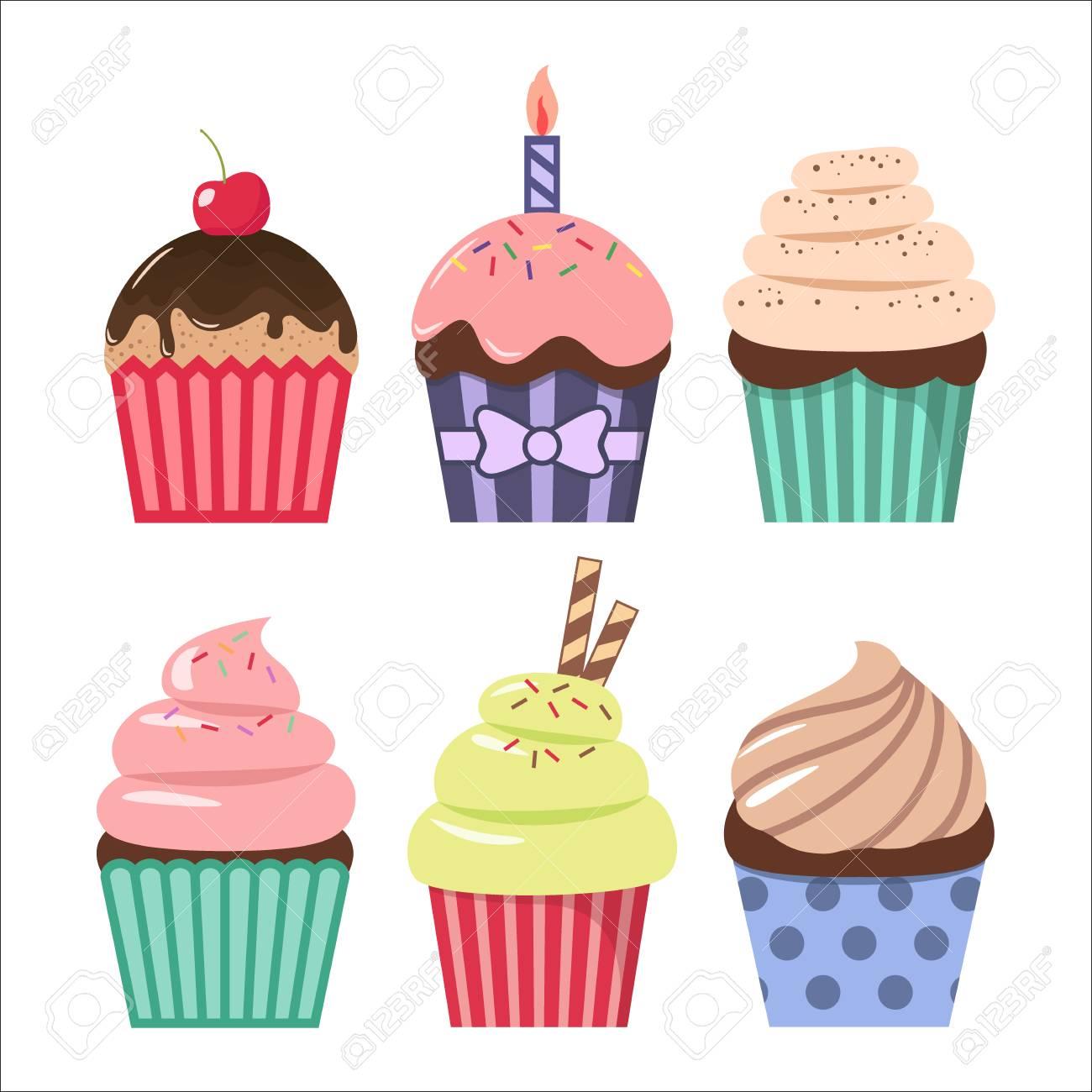 Clip art cartoon cupcake set. Colorful cupcakes clipart cartoons..