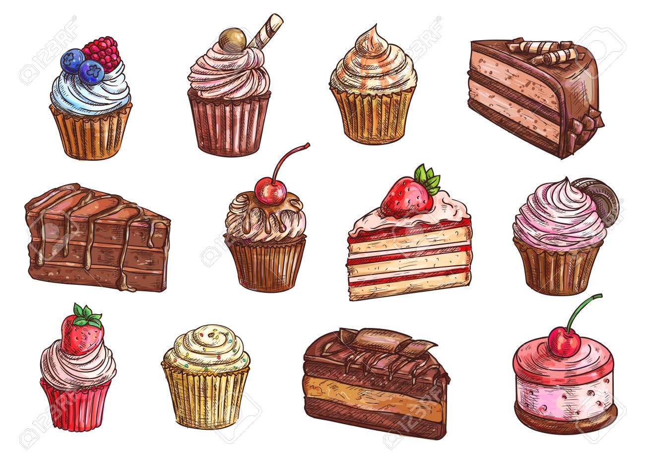 Cakes, cupcakes and pastry desserts vector sketch isolated icons...
