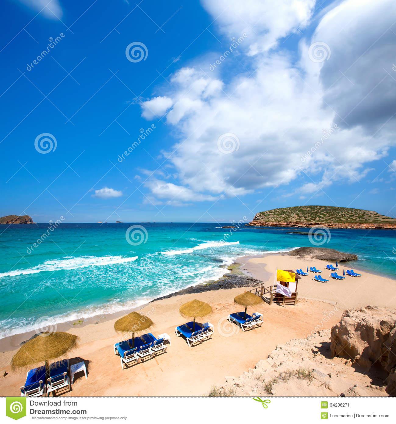 Ibiza Cala Conta Comte Beach In Sant Josep Stock Image.