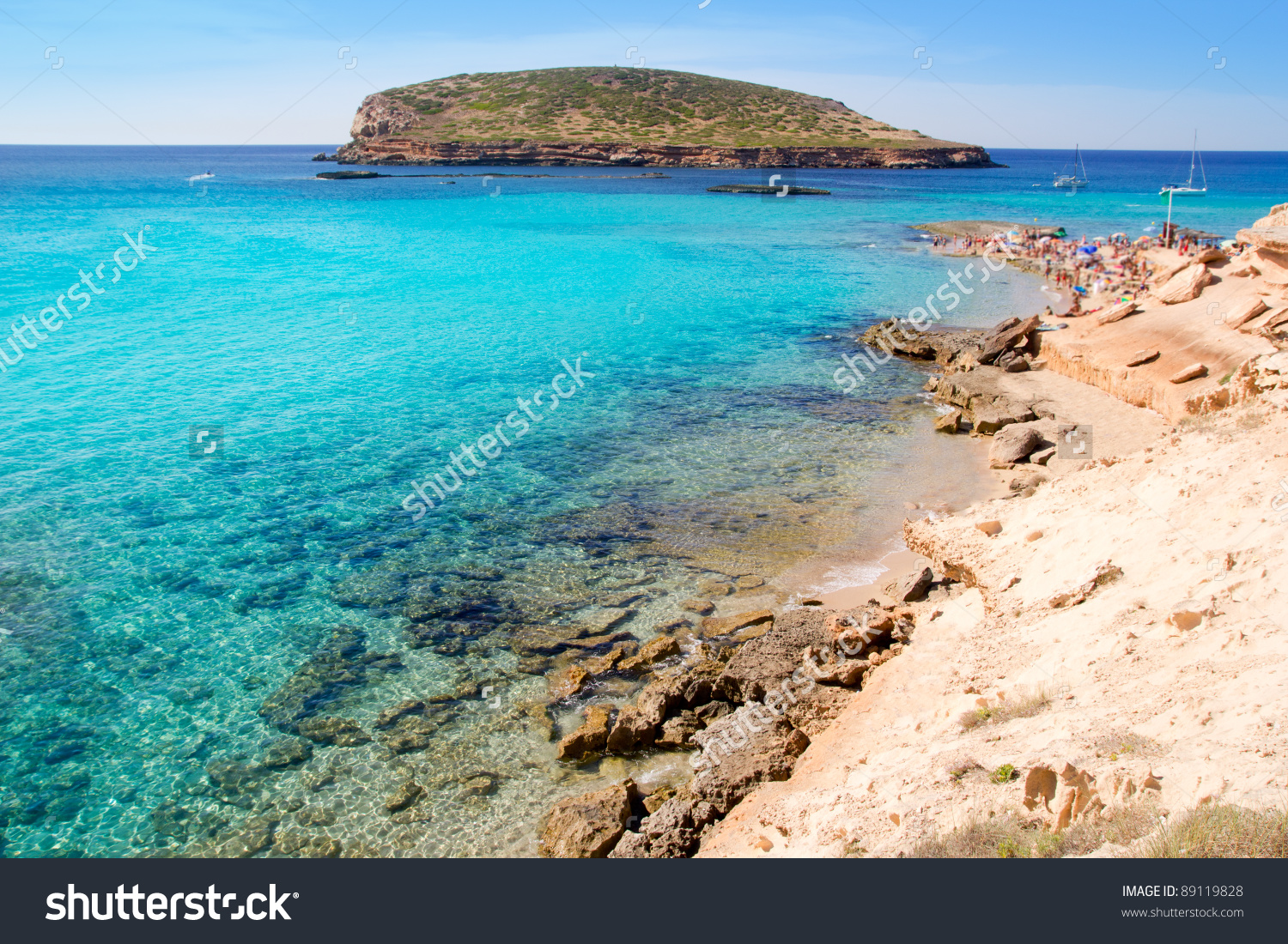 Ibiza Cala Conta Conmte In San Antonio With Isla Del Bosque Stock.