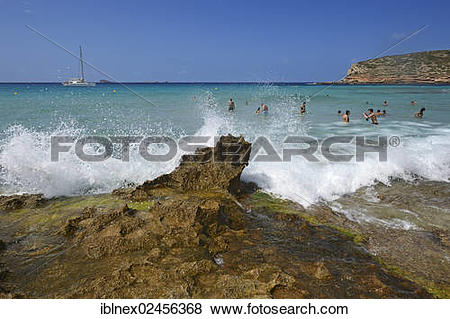"""Pictures of """"Tourists in the water, Cala Comte, Platges de Comte."""