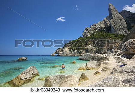 "Stock Photo of ""Rocky beach, Cala Goloritze, Golfo di Orosei."