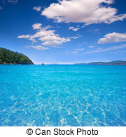 Stock Photo of Ibiza cala San vicente beach san Juan at Balearic.