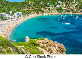 Stock Photos of Ibiza Cala de Sant Vicent caleta de san vicente.