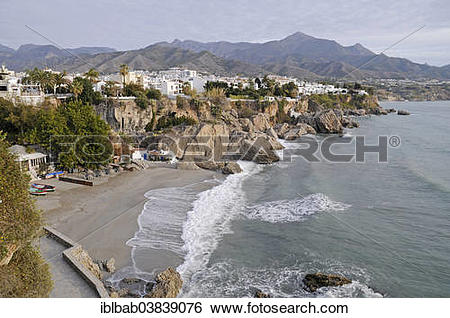 "Stock Images of ""Playa Calahonda, beach, Nerja, Malaga province."