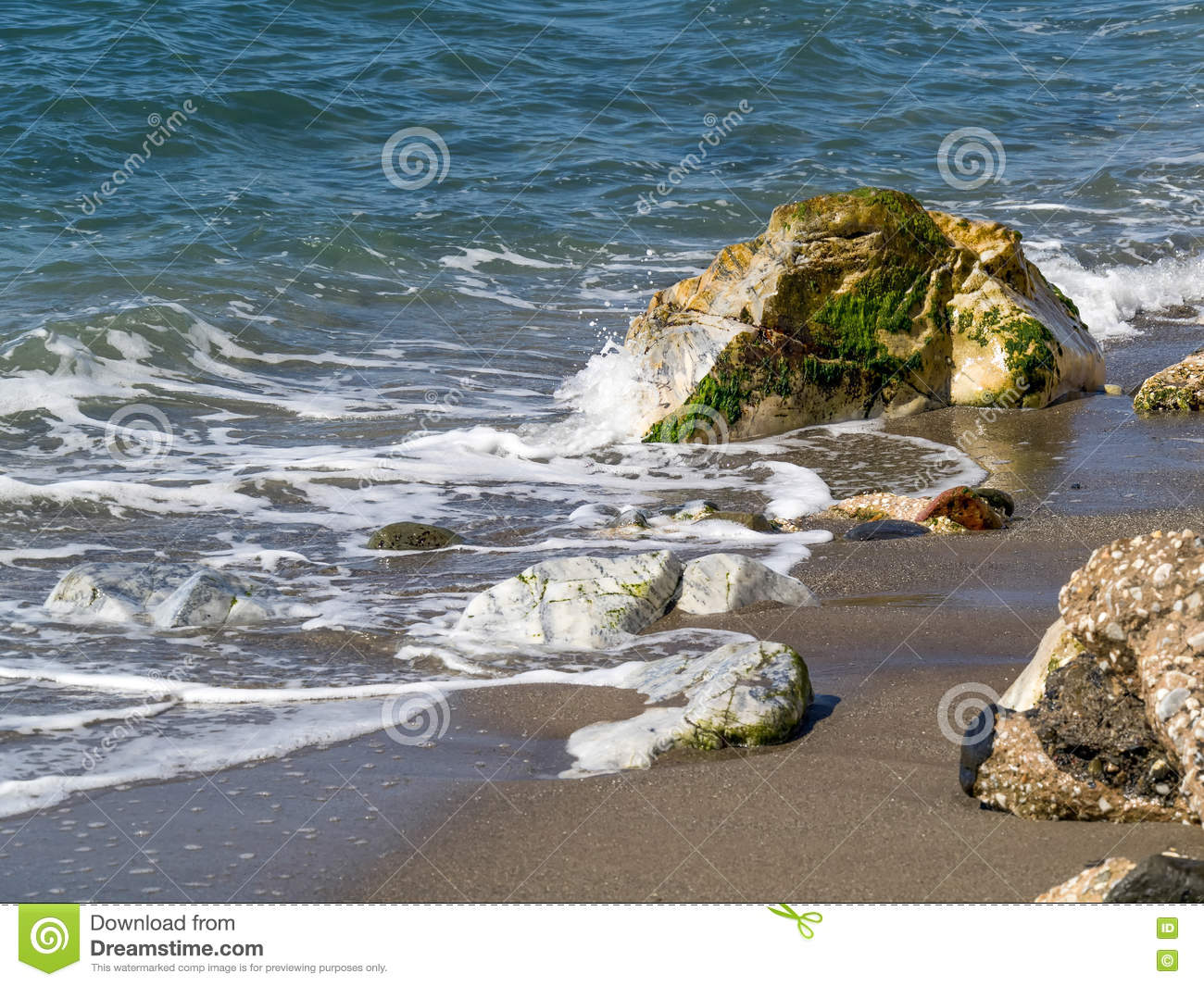 Dona Lola Beach In Calahonda Costa Del Sol Stock Photo.