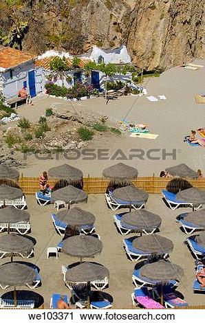 Stock Photography of Playa de Calahonda Calahonda Beach, view from.