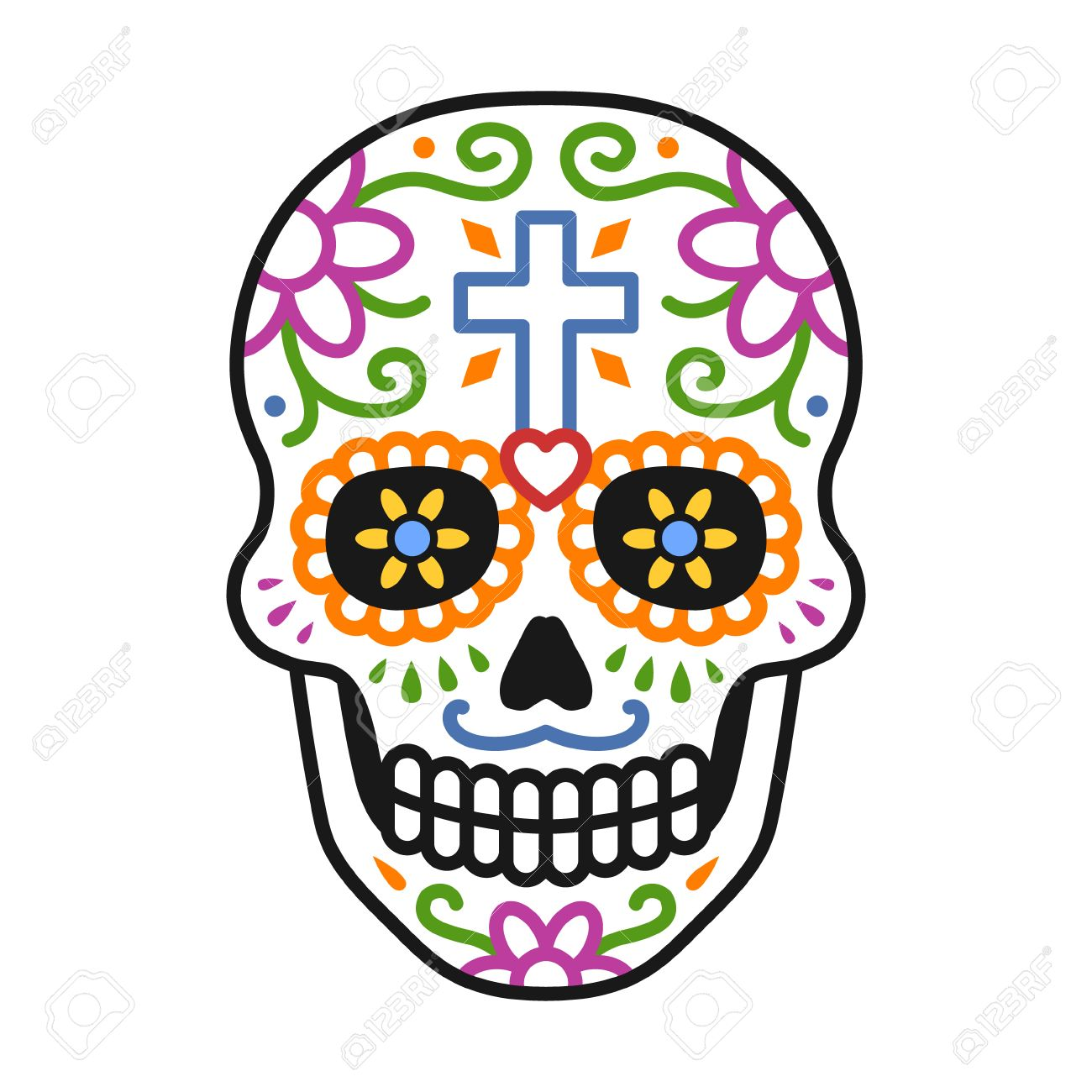 Decorated skull / calavera celebrating Day of the Dead line colorful...