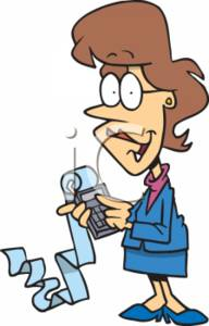 Clipart of an Accountant Using a Calculator.