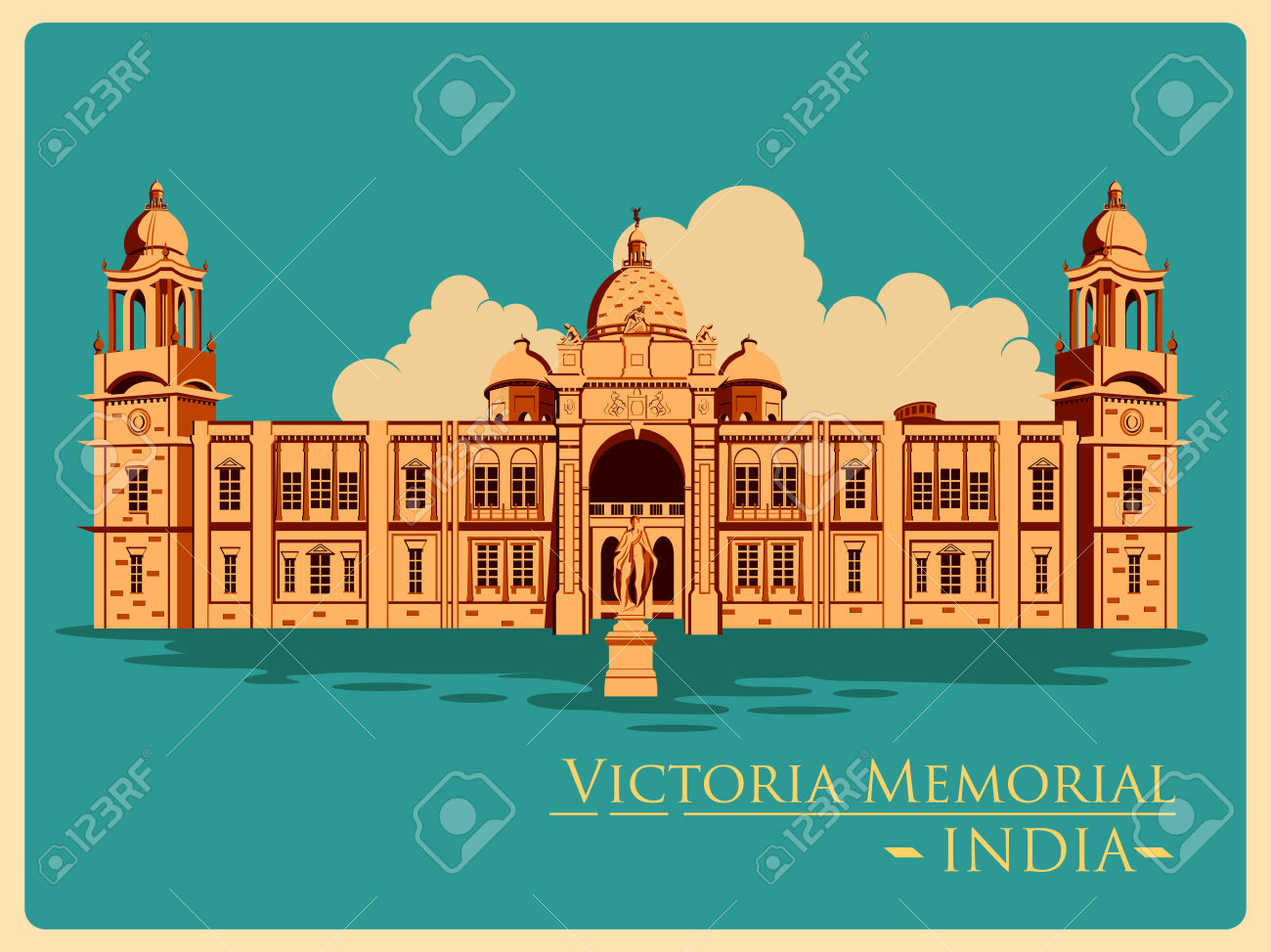 Vintage Poster Of Victoria Memorial In Kolkata, Famous Monument.