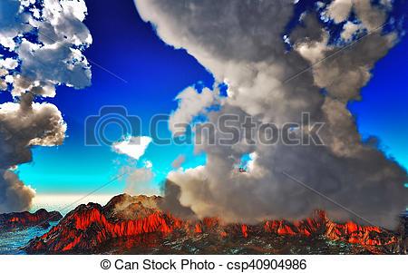 Stock Illustration of Smoking caldera of the volcano 3d rendering.