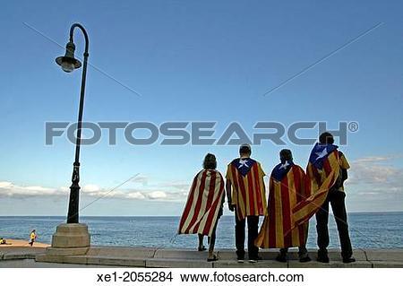 Stock Photo of Catalan flag, Calella, Catalonia, Spain xe1.