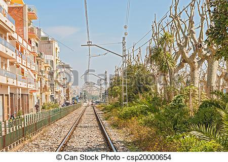 Stock Images of Rail tack in Calella Spain.