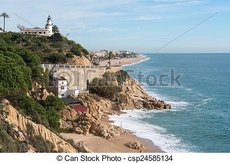 Stock Photos of Lighthouse Calella.