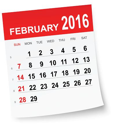 February 2016 calendar clipart.