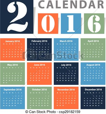 Clipart Vector of Calendar 2016 Vector design csp29182159.